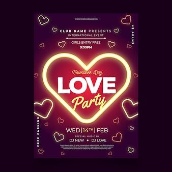 Romantische valentinstag party plakat vorlage