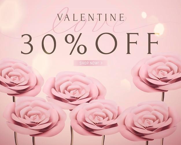 Romantische vorlage des valentinstagverkaufs mit rosa papierrose des babys