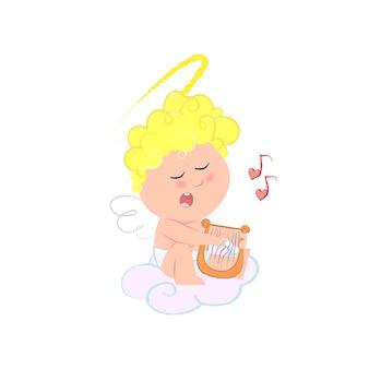 Romantischer amor, der harfe spielt und liebeslied singt