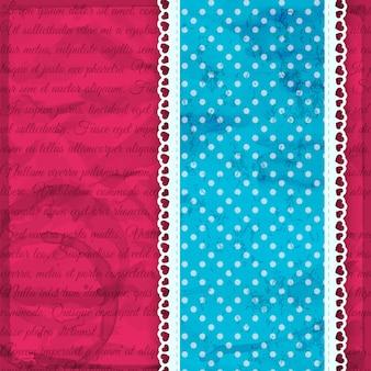 Romantischer blauer streifen mit rüschen und punkten auf rosa vektorillustration