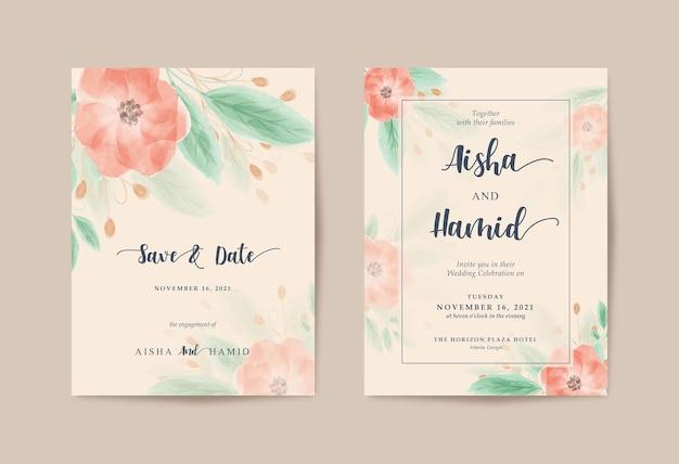 Romantischer brauner hochzeitseinladungssatz mit schönem aquarellblumen