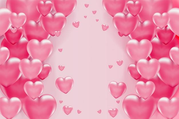 Romantischer hintergrund mit rosa 3d-herzen zum valentinstag