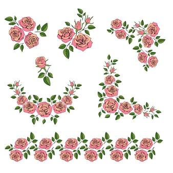 Romantischer hochzeitsblumenstrauß mit vektorsatz der roten rosen