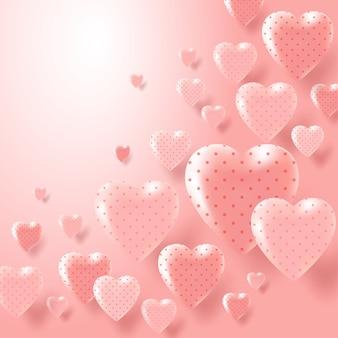 Romantischer hochzeitshintergrund des valentinstags mit herz. banner oder grußkarte.