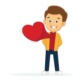 Romantischer mann mit rotem herzen valentine