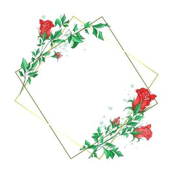 Romantischer quadratischer rahmen mit schönen rosenknospen in der aquarellart