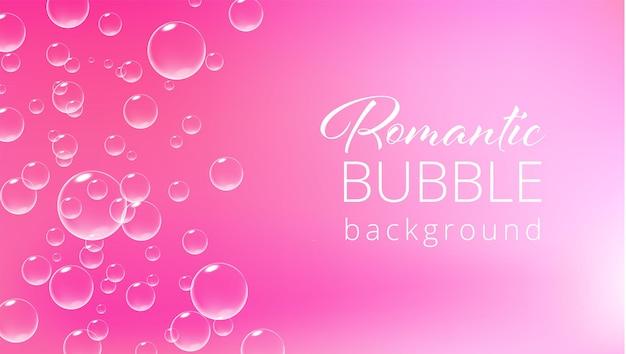 Romantischer rosa hintergrund mit sprudelnden blasen valentinsgrußkartenschablonenvektor realistische illustration