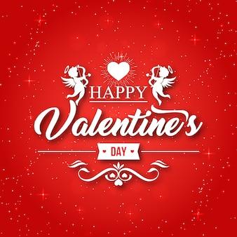Romantischer roter amor happy valentine card illustration