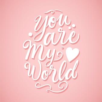 Romantischer schriftzug mit rosa hintergrund