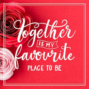 Romantischer schriftzug mit rosen