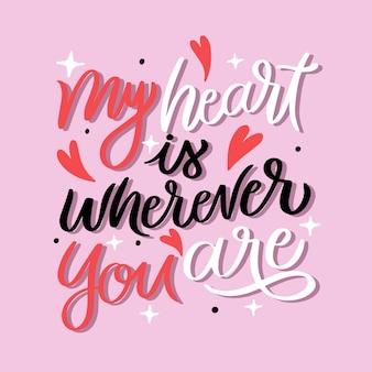 Romantischer schriftzug zum valentinstag