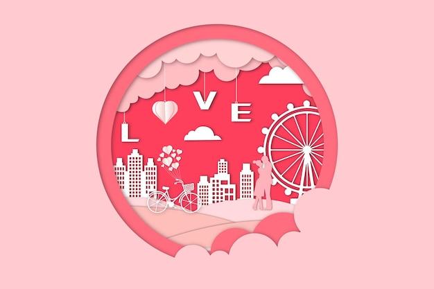 Romantischer valentinstag papierschnitt