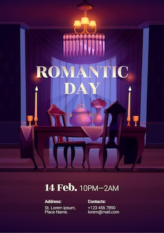 Romantisches abendessen für paare am tag. karikaturplakat mit esstisch, stühlen, kerzen, blumen und kronleuchter im leeren restaurantraum