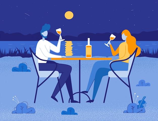 Romantisches abendessen für zwei personen in der natur bei mondnacht.