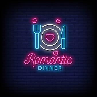 Romantisches abendessen neonzeichen stil text