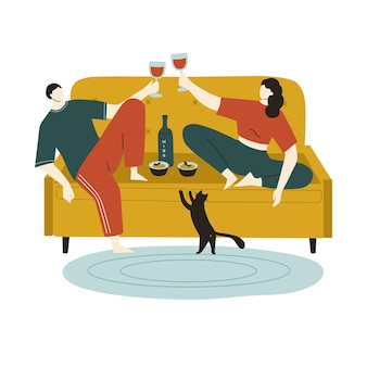 Romantisches abendessen zu hause glückliches paar trinkt wein und isst nudeln mit schwarzer katze