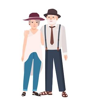 Romantisches älteres ehepaar. paar alter süßer mann und frau mit hüten, die zusammen stehen und sich umarmen. großmutter und großvater. flache männliche und weibliche zeichentrickfiguren. bunte vektorillustration