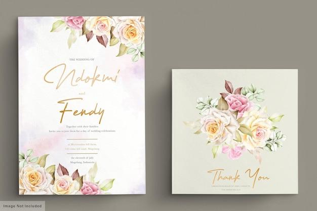 Romantisches aquarell weiße rosenhochzeitseinladungskartenset
