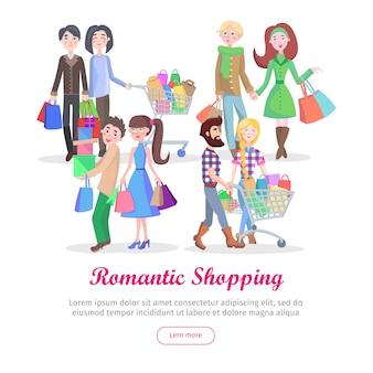 Romantisches einkaufsschablonen-karikatur-flaches vektor-konzept