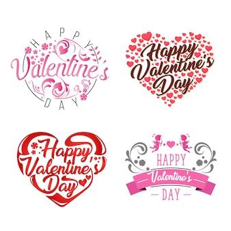 Romantisches glückliches valentinsgruß-karten-element-illustrations-set