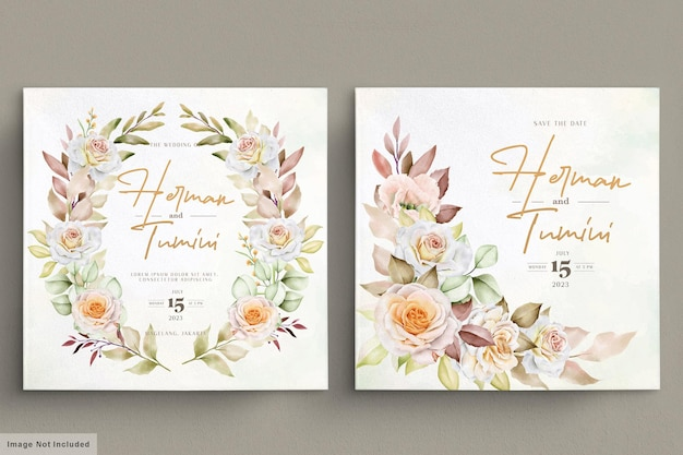 Romantisches handgezeichnetes blumenhochzeitskartenset