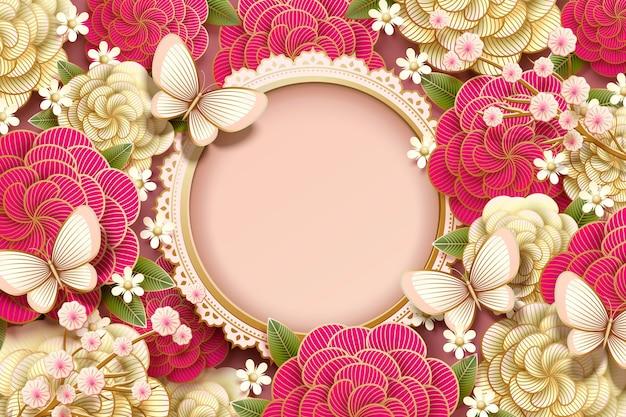 Romantisches hintergrunddesign mit herrlicher pfingstrose und schmetterlingen im papierkunststil