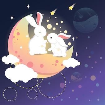 Romantisches kaninchen auf dem mond
