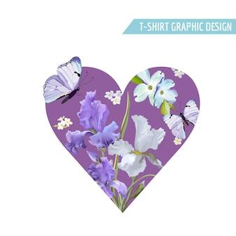 Romantisches liebes-herzform-t-shirt-design mit blühenden iris-blumen