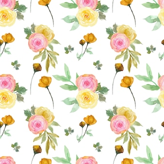 Romantisches nahtloses muster der rosa und gelben blumen