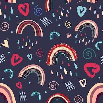 Romantisches nahtloses muster des netten regenbogens und des herzens helles muster für valentinsgruß-tag