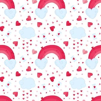 Romantisches nahtloses muster des valentinstags. 14. februar urlaub dekorative kulisse. wolken, rosa regenbogen und liebesbriefhintergrund. festliches niedliches geschenkpapier, textildesign
