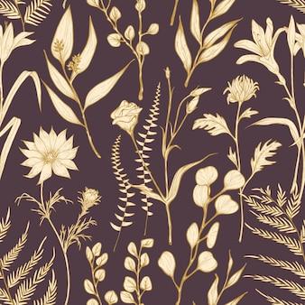 Romantisches nahtloses muster mit blühenden gartenblumen