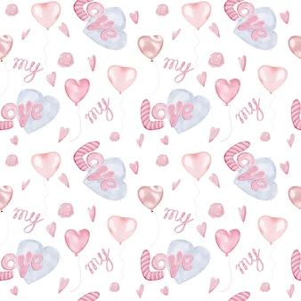 Romantisches nahtloses muster mit herzen und wort lieben für packpapier
