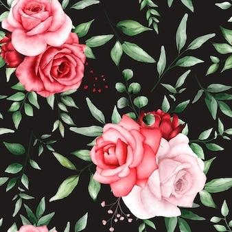 Romantisches nahtloses muster mit kastanienbrauner blume