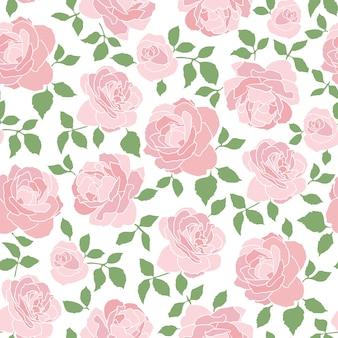 Romantisches nahtloses muster mit rosen