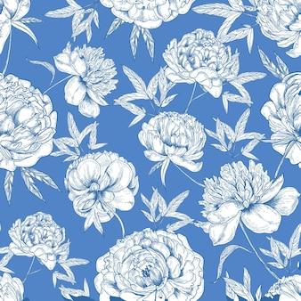Romantisches nahtloses muster mit zarten pfingstrosenblumenhand gezeichnet mit konturlinien auf blau