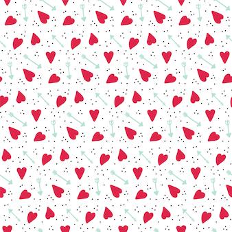 Romantisches nahtloses vektormuster mit herzen und pfeilen.