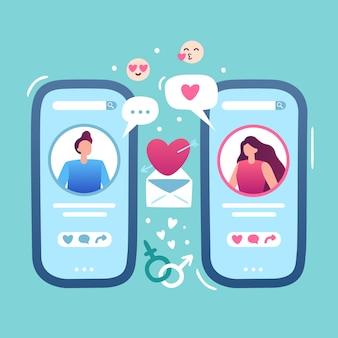 Romantisches online-date. internet-liebesdatierungs-app, frau und mann halten smartphone und verhältnispaar bringen standortillustration zusammen