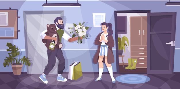 Romantisches paar blume flache komposition mann kam, um seine freundin zu besuchen und gibt ein stofftier und einen blumenstrauß