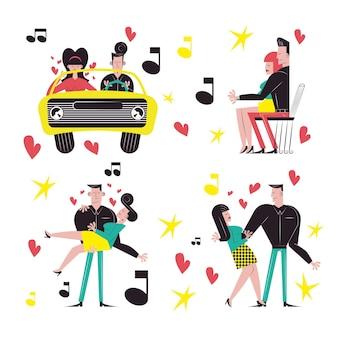 Romantisches paar cartoons sammlungsdesign, beziehung liebe und romantik thema