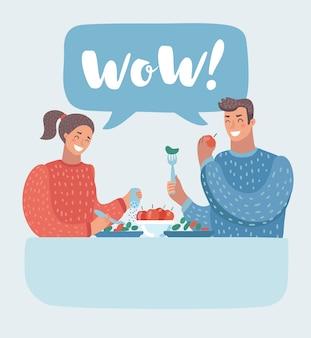Romantisches paar, das im café sitzt und eine flasche wein teilt. mann und frau in einem restaurant. illustration