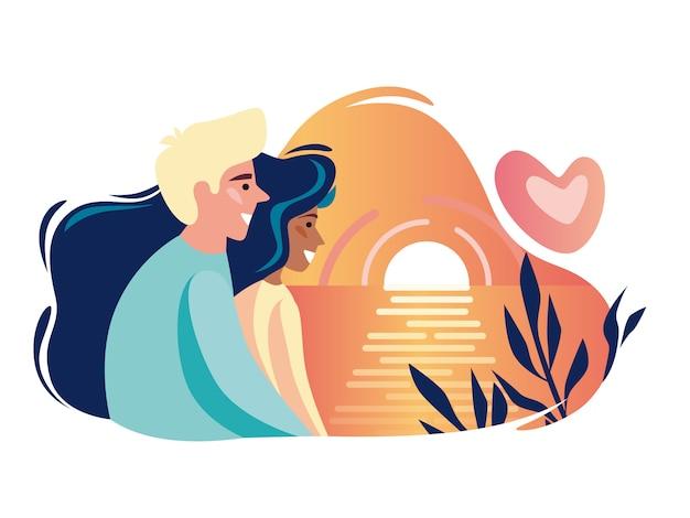 Romantisches paar. ein mann und eine frau beobachten den sonnenuntergang auf dem meer.