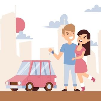 Romantisches paar mit neuwagen