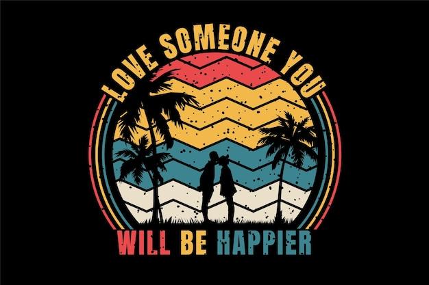 Romantisches paar titel liebe jemanden, du wirst glücklicher sein