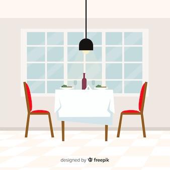 Romantisches restaurant interieur mit flachem design