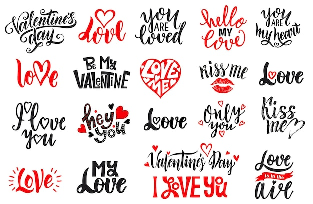 Romantisches schriftzugset. handgeschriebene schwarzweiss-beschriftung über liebe zum valentinstag-designplakat, kalligraphie.