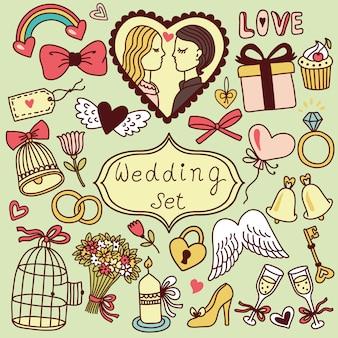 Romantisches set im cartoon-stil. hochzeitssammlung