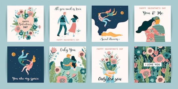 Romantisches set mit niedlichen illustrationen für den valentinstag und andere nutzer.