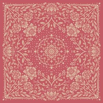 Romantisches vintage-musterdesign mit rose und ausgefallenen blumen Premium Vektoren