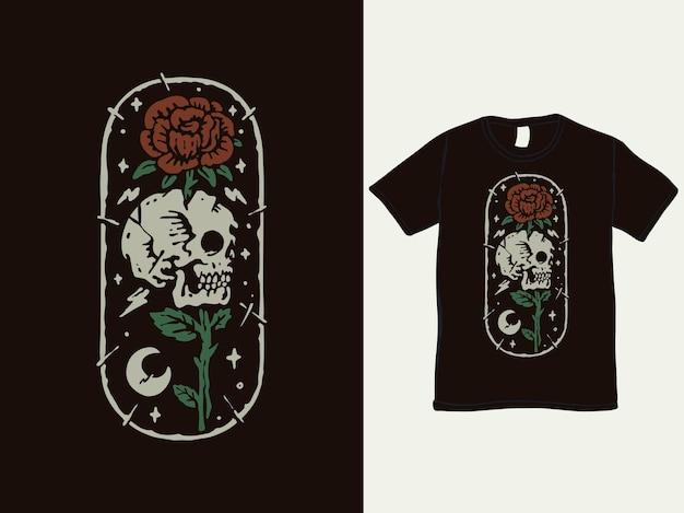 Romantisches vintage-t-shirt-design mit rose und totenkopf
